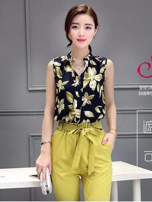 Áo kiểu cổ trụ tay ngắn họa tiết hoa Luly